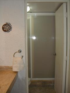 Separate shower with screen and additional closet
