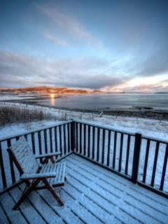 Winter view of front decking at Moeraki - photo courtesy of Scott Masterton