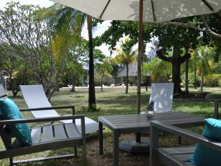 vue du jardin et de la piscine à partir du salon de jardin