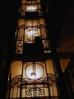 staircase in the night