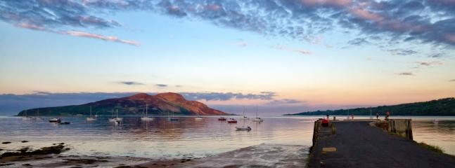 Holy Isle from Lamlash Pier. Boats trips start here ...