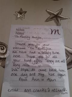 we are very happy to find such notes on the table after a guest leaves