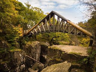Bracklinn Falls Bridge. Short walk from Blinkbonnie.