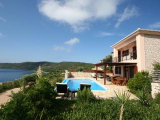 Seafront villa ADAM,Lefkada, 3 bedrooms, up 8pers, private pool,30m own seaside