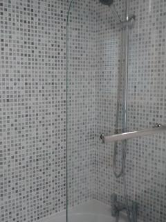 Modern Bath with pan head and hair shower
