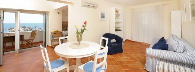well equipped kitchen with living and dining area; The living has a sofa bed for 1 person