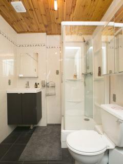 70's wooden style shower WC room.