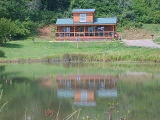 """Time to Unwine"" Pond front and Blue Ridge  Parkway  cabin"