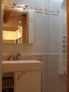 Salle d'eau à l'étage avec colonne de douche hydromassante et WC