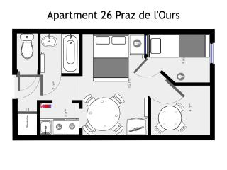 Floor plan of no. 26 Praz sleeps 4 skiing Vallandry - Les Arcs