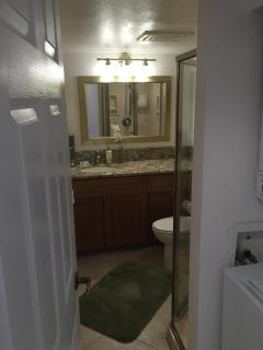 Hall bathroom bamboo cabinets & granite counter tops.