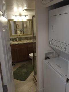 Full size washer/dryer with laundry soap & hall bathroom.