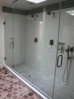 Massive double shower in second bathroom