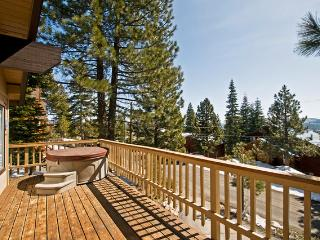 sunny redwood deck with hot tub