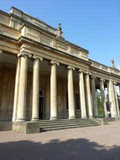 The iconic columns of Pittville Pump room where classical concerts are sometimes held.