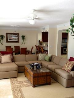 open floor plan family room with new couch, smart 46 inch TV and WIFI
