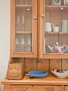 The cottage is furnished with a selection of  antique and contemporary pieces