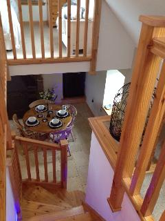 Wooden staircase leading to both Double Bedrooms