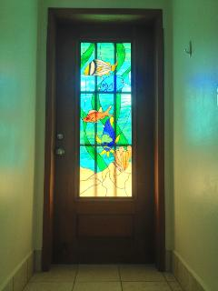 Condo handmade stained glass door entry