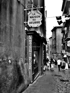 The street below the apartment. Finest breads, cheeses, fishes, see foods of St Malo.