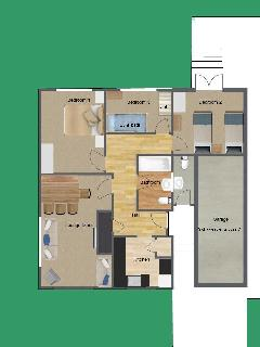 Floor Plan - with generic furniture, fixtures and fittings etc. for illustration purposes only.
