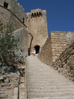 Stone stairway to the Acropolis at Lindos