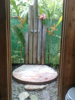 The outdoor shower with hot water. See hummingbirds and butterflies while you bathe!