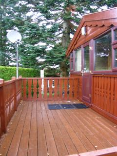 Decking area at the front of the cabin
