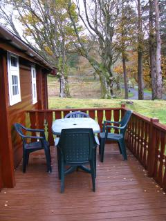 Decking area at the side of the cabin