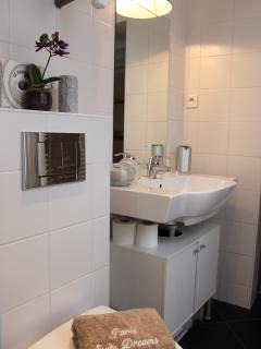 Enjoy a modern furnished shower room with Large shower.  -Hair dryer  -Towel heater