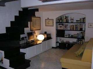 The TV corner under the mezzanine