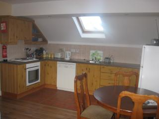 Kitchen cum dining area. Fully equipped kitchen with dish washer, fridge freezer, microwave.