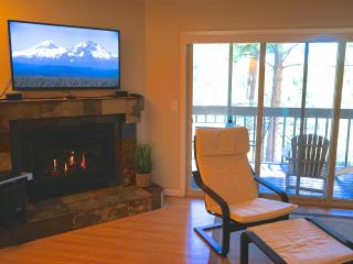 Gas fireplace and 60' flat screen TV