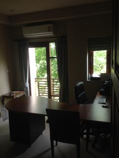 3rd bedroom set up as office, but can be converted with beds- either King size or single beds