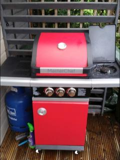 2 Burner gas 'Master Chef' BBQ with side burner ignition lighting, shelving and storage