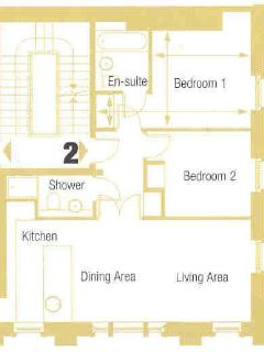 This is the floor plan for Bathwick View apartment, showing the services and dimensions of the rooms