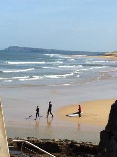 Excellent surfing and surf schools with life guard patrol on beach 100 m walk