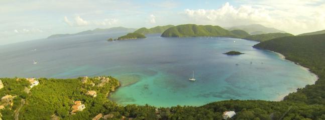 Photo above Amorosa showing Peter Bay, Cinnamon, Maho, & Francis Bay beaches.