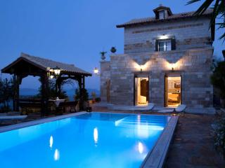 Brand new stone-built traditional villa with great view and pool - OFFER!, Kariotes