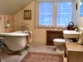 Full bath with slipper soaking tub and hand held shower.  Use of stand up shower down the stairs.