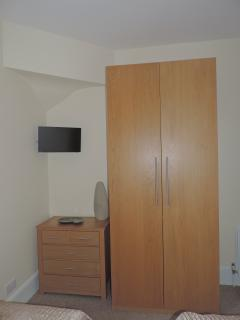 Large wardrobe, with chest of drawers for ample storage, plus FreeSat TV