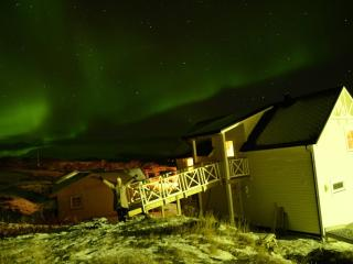 Northern light, winter, snowmobile, seafishing, Finnmark