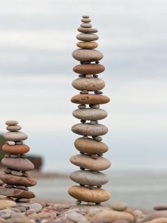 Pebble Towers on Budleigh Salterton beach
