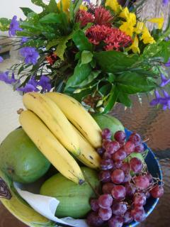 Flowers and mangos from the garden(when in season)  with local bananas