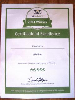 25 Tripadvisor reviews and winner of their Certificate of Excllence Award 2014