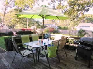 Deck off Kitchen with patio set, umbrella and grill - 61 Kelley Road West Harwich Cape Cod New England Vacation Rentals