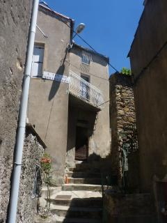 view up to the higher houses on our street