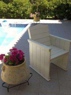 Pool side sitting area.