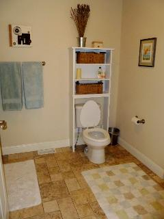 Bathroom is spacious, full bath and shower, soap, shampoo, conditioner and towels provided