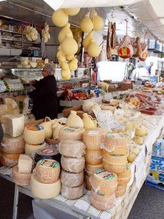 Market day in Calitri and some of Southern Italy's finest cheese, meat, fruit and veg is on display